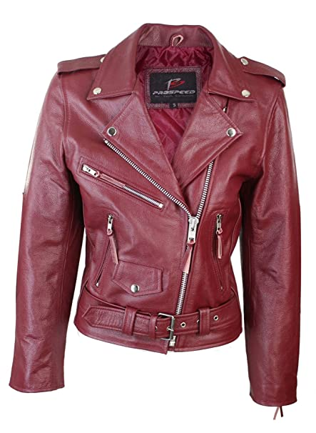 the best attitude 28cd3 18c04 Giacca Corta Bordeaux da Donna Chiodo in Vera Pelle Stile ...