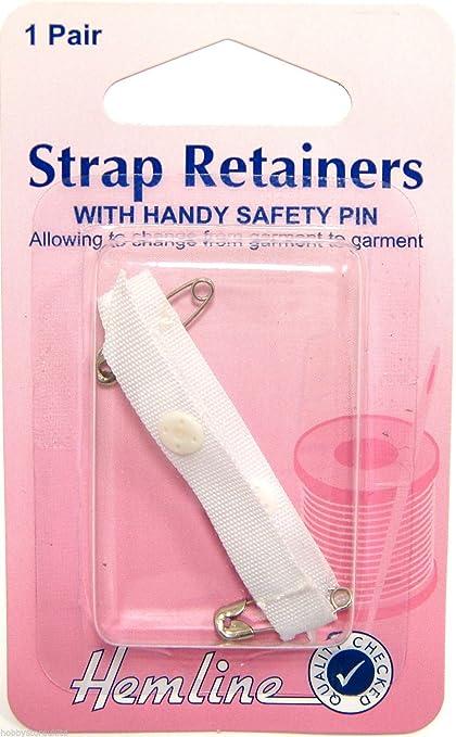 Black Bra Shoulder Strap Retainer With Safety Pin 1 Pair Hemline H788.B