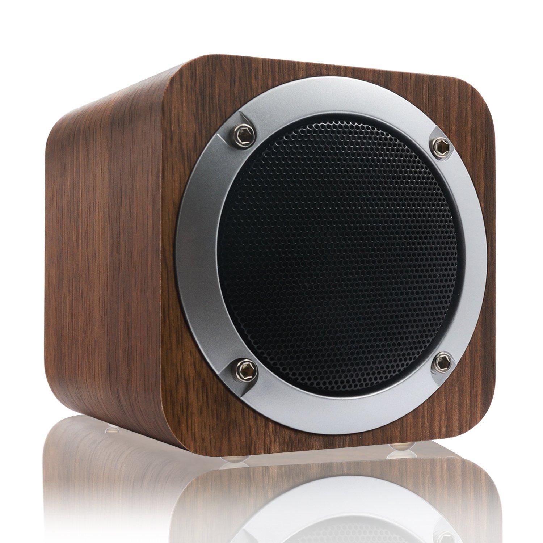 Bluetooth Speaker, LEFON Wooden Bluetooth 4.0 Wireless Speaker with FM Radio 1800mAh Rechargable Battery Support AUX TF Card MP3 Player (Black Walnut)