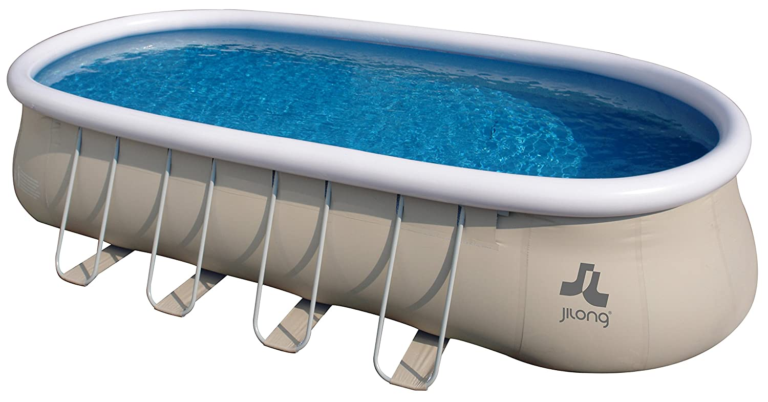 Jilong Pool selbsttragender Pool, Oval mit Gestell, grau 732x360x122 ...