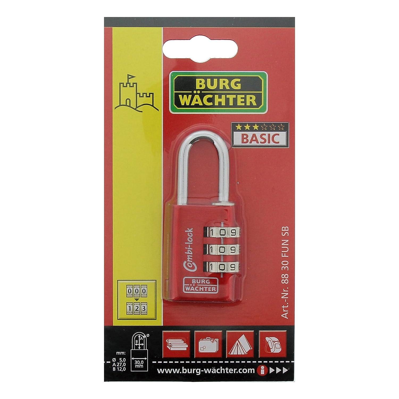 6,5 mm B/ügelst/ärke 4 Zahlenrollen BURG-W/ÄCHTER Verstellbares Zahlenschloss Combi Lock 88 40 Fun SB,Farbe sortiert