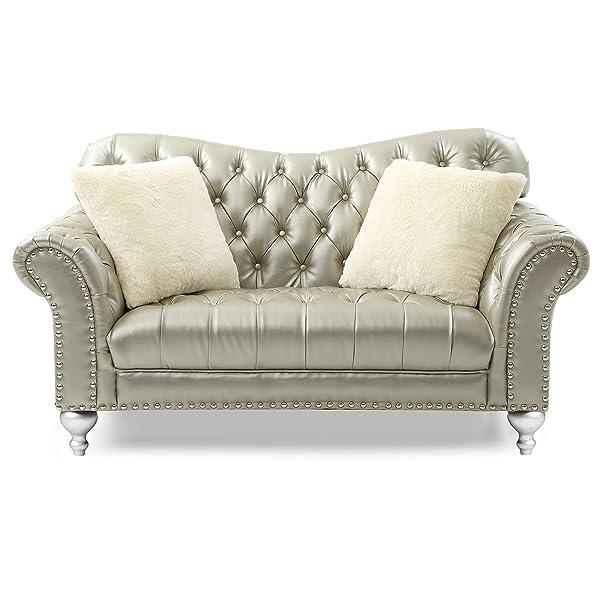 "Glory Furniture Woodbridge G704-L Loveseat, Gold Silver. Living Room Furniture, H x 71"" W x 38"" D"