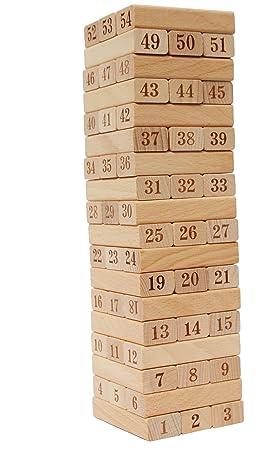 Toys Of Wood Oxford Juego De Torre De Madera Jenga Numeros De La
