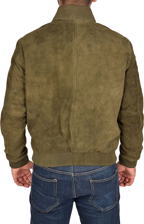 Mens Real Soft Goat Suede Bomber Jacket Green Slim Fit Varsity Baseball Coat Blur