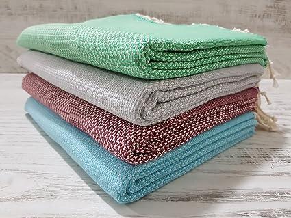 wellstil Solide patrón algodón turco Peshtemal de juego de toallas para baño, playa, Sauna