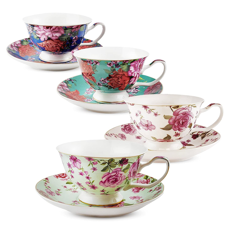 BTäT- Tea Cups, Tea Cups and Saucers Set of 4, Tea Set, Floral Tea Cups (7oz), Cappuccino Cups, Latte Cups, Tea Set for Adults, Porcelain Tea Cups, Tea Cups for Tea Party, Rose Teacups, China Tea Cups BTäT- Tea Cups