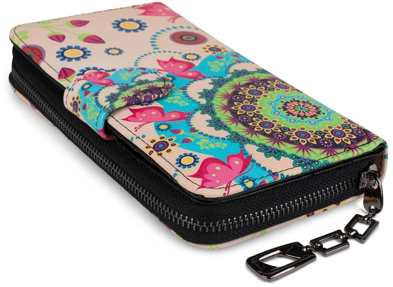styleBREAKER portefeuille à motifs de fleurs ethniques differents fermeture à glissière toute autour dessin vintage femmes 02040040 couleur:Beige-marron-marron foncé-rose