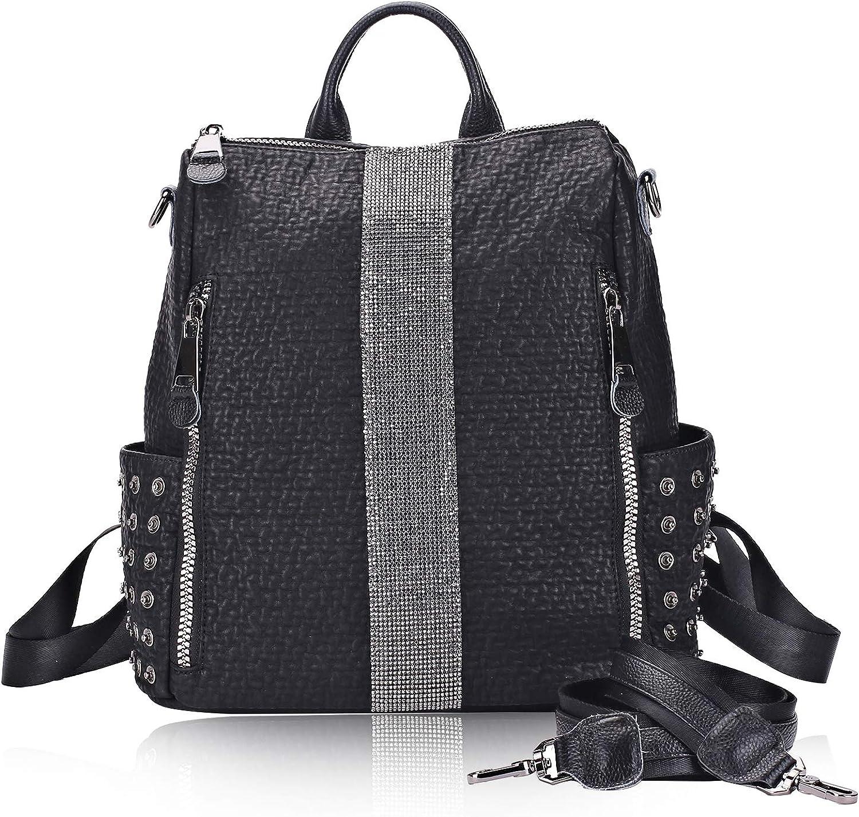 Backpack Purse for Women Rhinestone Fashion Leather Casual Shoulder Bag Handbag Lightweight Rucksack for Travel School