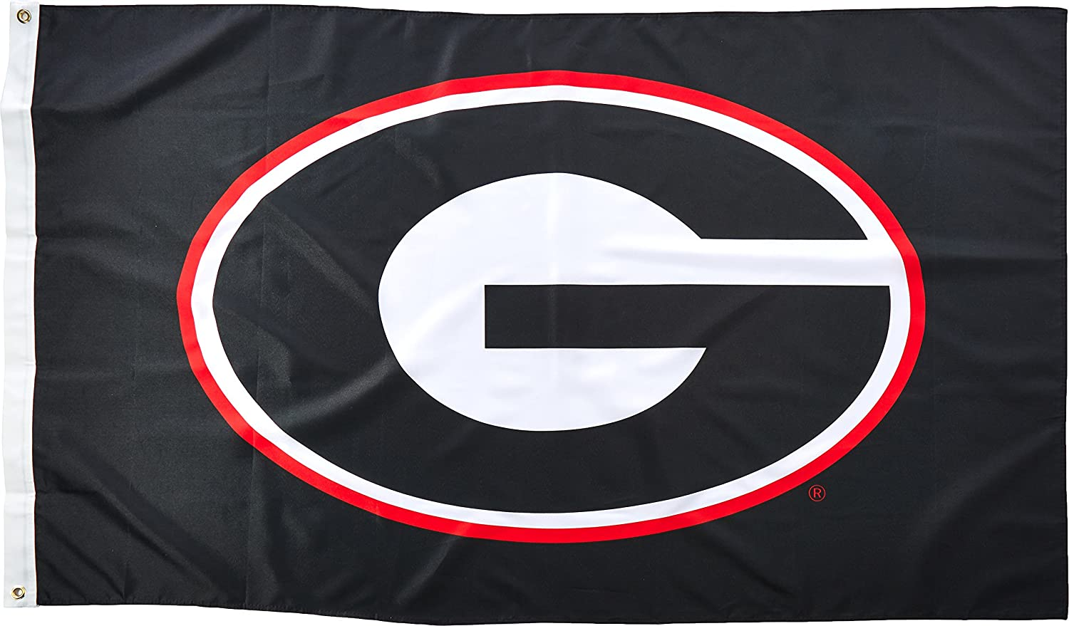 NCAA Georgia Bulldogs 3 by 5 Foot Flag G Logo with Black Background with Grommets
