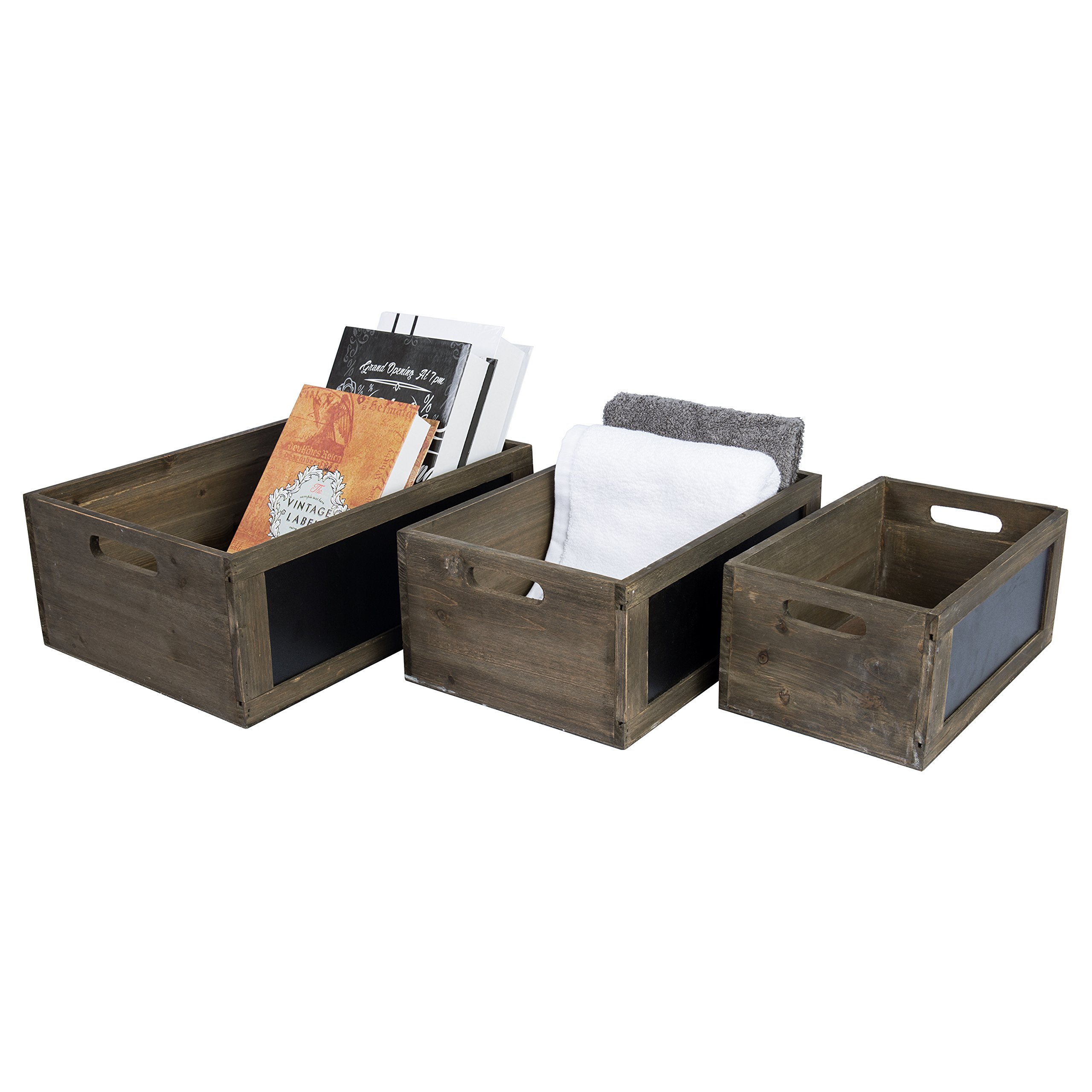 MyGift Rustic Brown Wood Nesting Storage Crates with Chalkboard Front Panel and Cutout Handles, Set of 3 by MyGift (Image #4)
