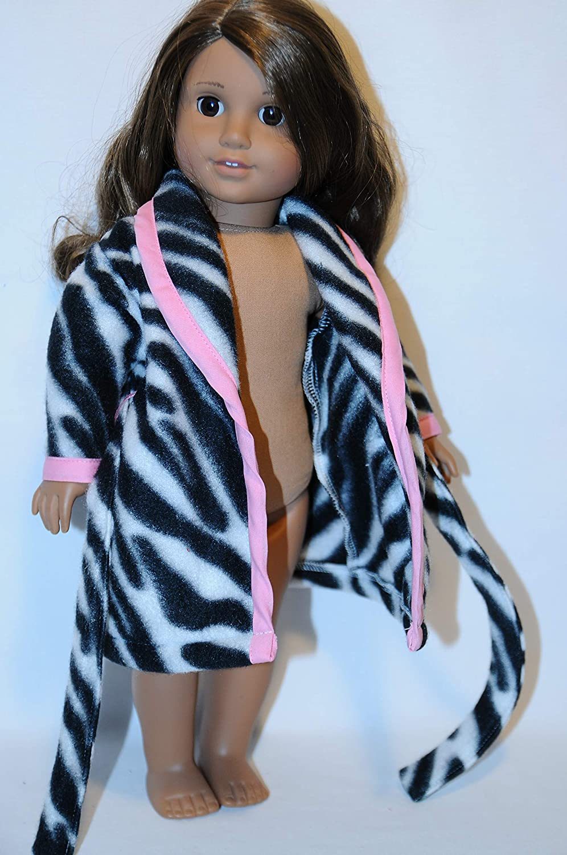 Pink Zebra Bath Robe for 18 Dolls