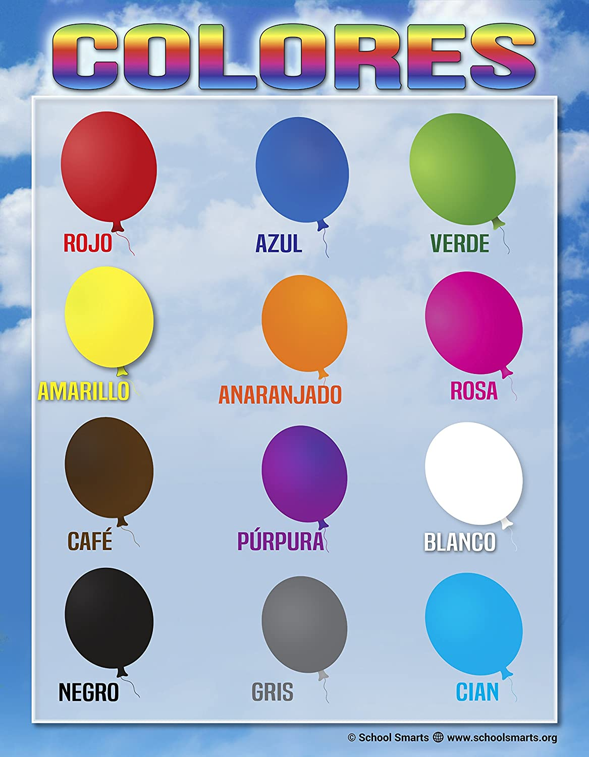 Spanish Colors Chart By School Smarts 12 Bold Colors Fully Laminated Durable Material Rolled For Protection And Sealed In A Protective Poster Sleeve
