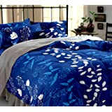Weave Well Polyester Double Bedsheet with 2 Pillow Covers (Blue and White)