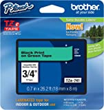 """Brother P-touch Genuine TZe-741, ~3/4"""" (0.7"""") Black on Green Standard Laminated Tape –26.2 ft(8m) (TZE741)"""
