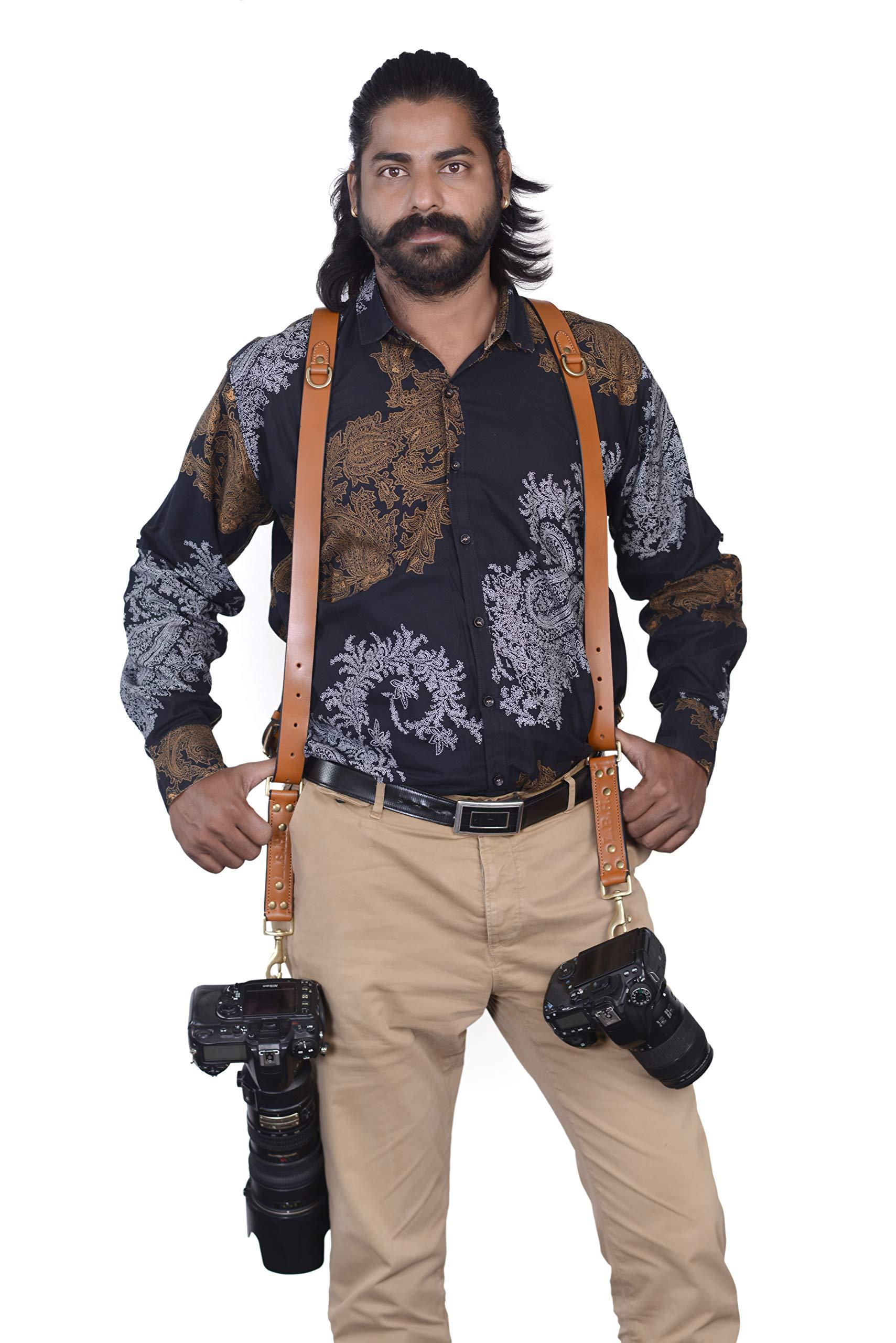 Custom Double Camera Harness, Dual Camera Harness Real Leather Multicamera Strap, Handmade, Adjustable, Custom Name Initials, Brown