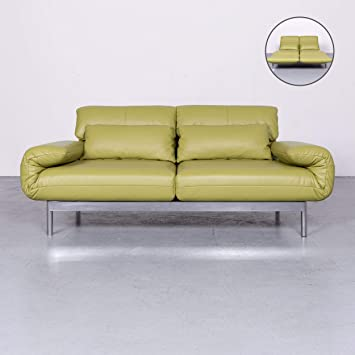 Rolf Benz Plura Designer Leder Sofa Grün Echtleder Dreisitzer Couch