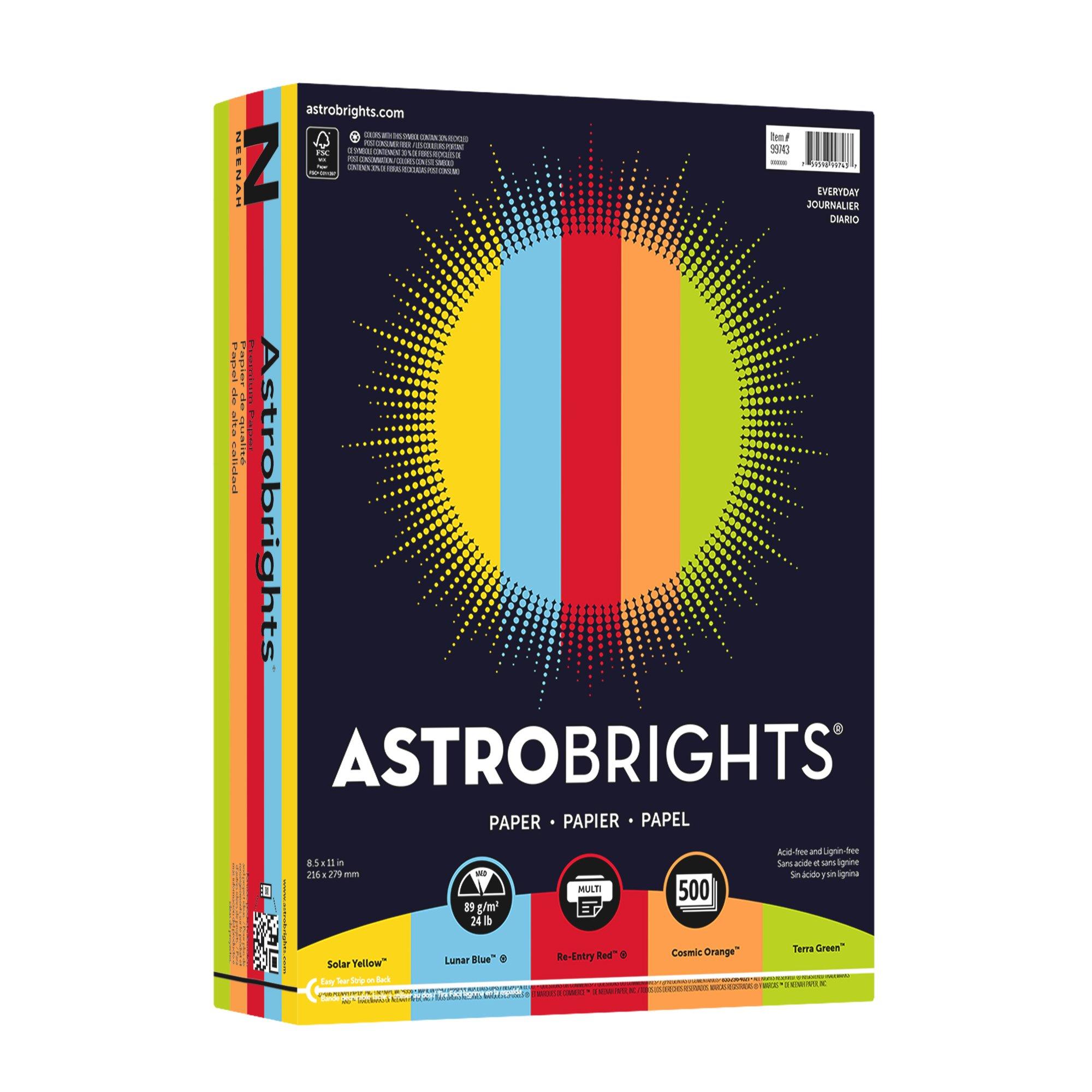 Astrobrights Color Paper, 8.5''x11'', 24lb/89 gsm, Everyday 5-Color Assortment, 500 sheets (99743)