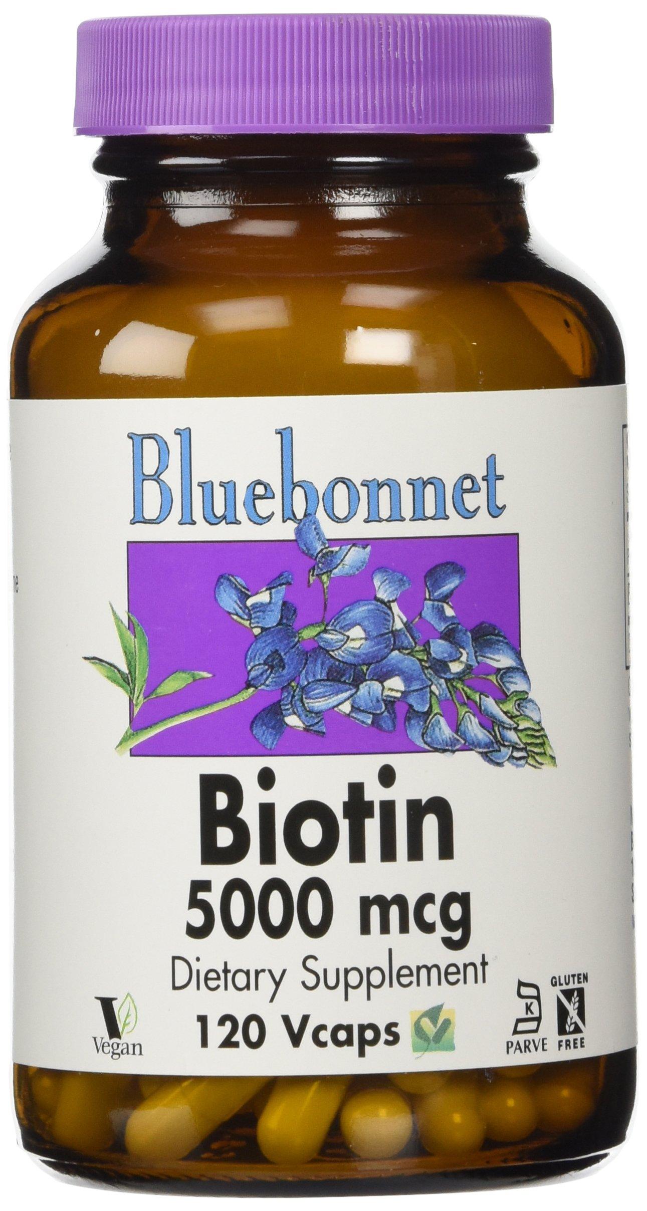 Bluebonnet Biotin 5000 mcg Vegetable Capsules, 120 Count