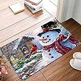 Winter Holiday Christmas Happy Snowman and Cardinals Welcome Mats Doormats Non Slip Indoor/Outdoor/Front Door/Bathroom Entran
