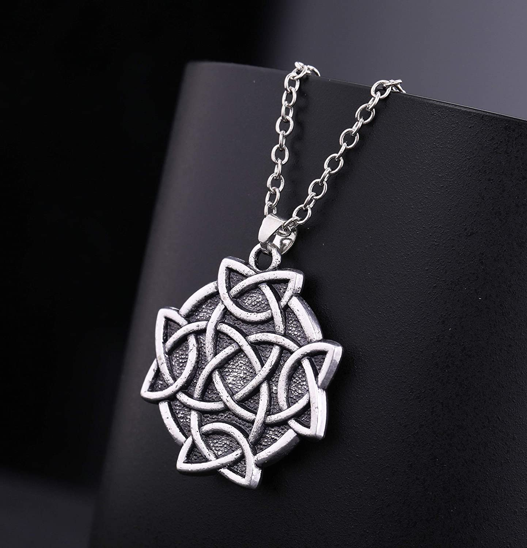 EUEAVAN Crossed Celtic Knot Amulet Talisman for Eternal and Infinitive Love Pendant Necklace
