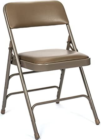 Amazon Com Commercial Vinyl Padded Folding Chair Triple Cross Bracing Quad Hinging 300 Lb Tested 4 Pack Beige Kitchen Dining
