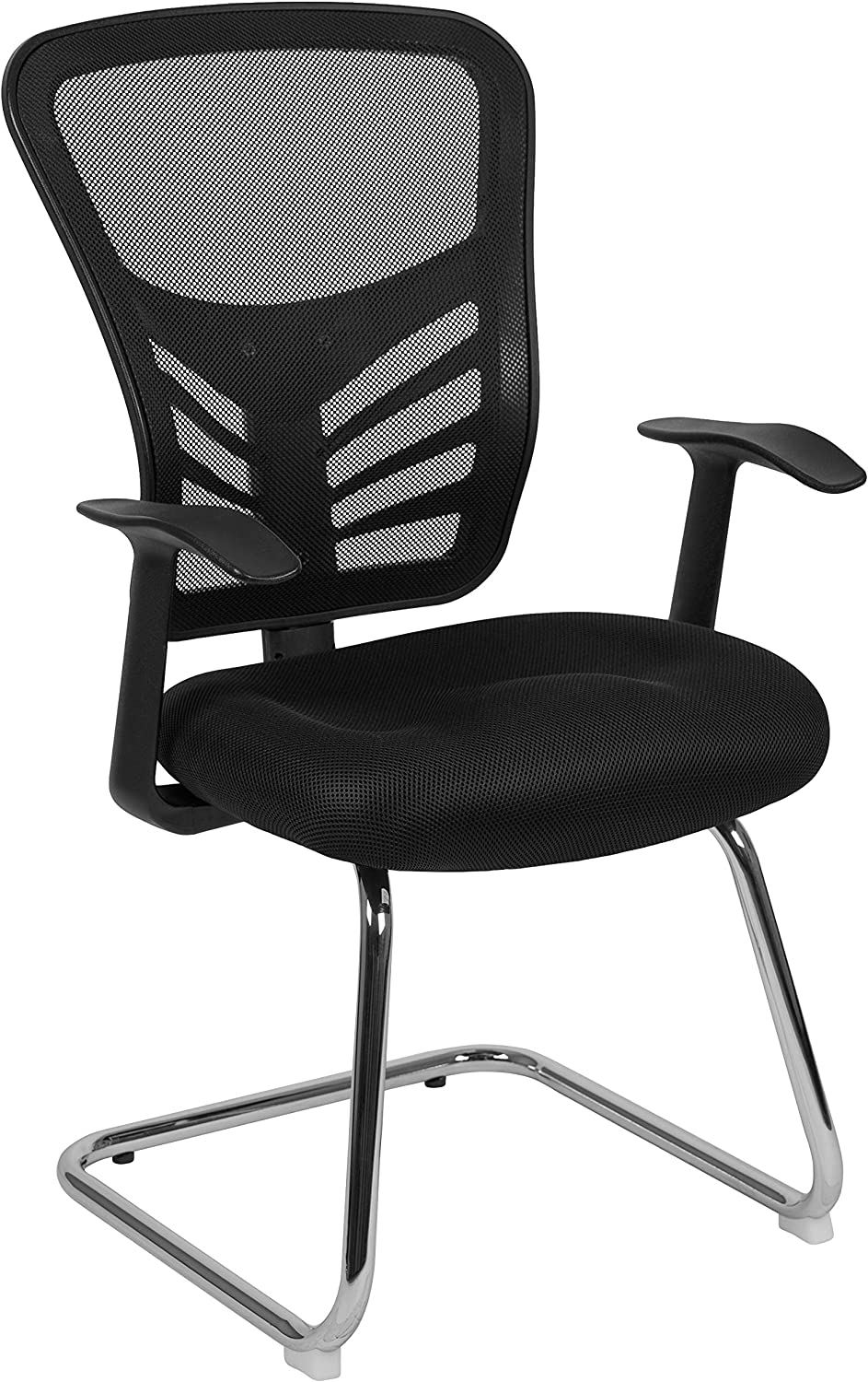 Flash Furniture Black Mesh Side Reception Chair with Chrome Sled Base