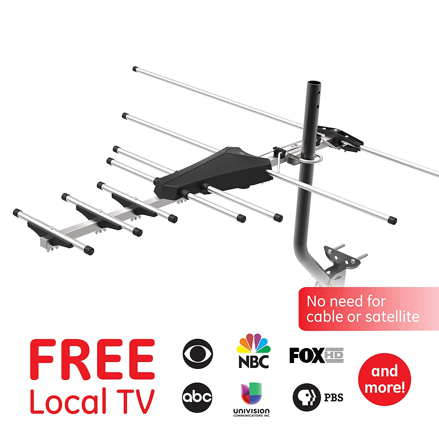 Ge Pro Outdoor Yagi Tv Antenna Hdtv Attic Wiring Diagram Compact Design Long Range Digital Directional