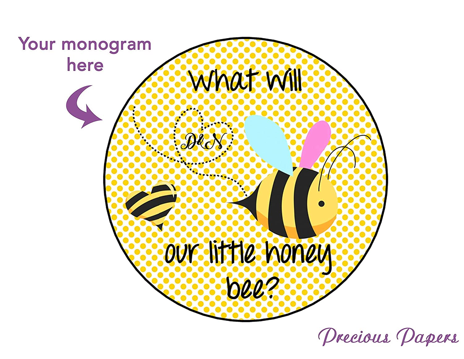 Bumble Bee Stickers for Gender Reveal Labels Boy Girl Baby Shower Set of 24 Stickers