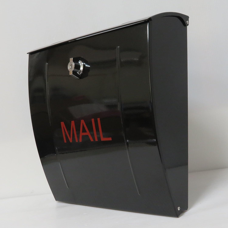 郵便ポスト郵便受け北欧風大型メールボックス 壁掛けステンレスブラック黒色ポストm023 B018NNXKBQ 10880