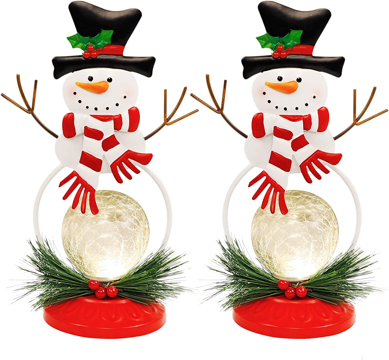 Lulu Home Lighted Christmas Table Decorations, 2 Pack 11.2 Inch Christmas Snowman Ornaments with Lighted Glass Ball, Battery Operated Lighted Snowman Decorations, Xmas Holiday Winter Tabletop Ornament