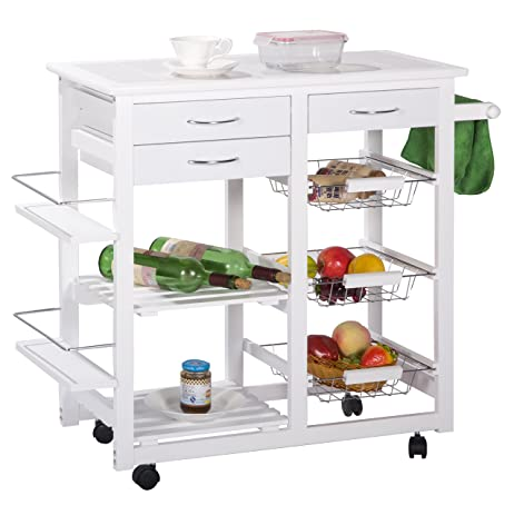 Merax® Tile Top Mobile Kitchen Cart/island With Drawers Kitchen Cabinet  Storage Cart,