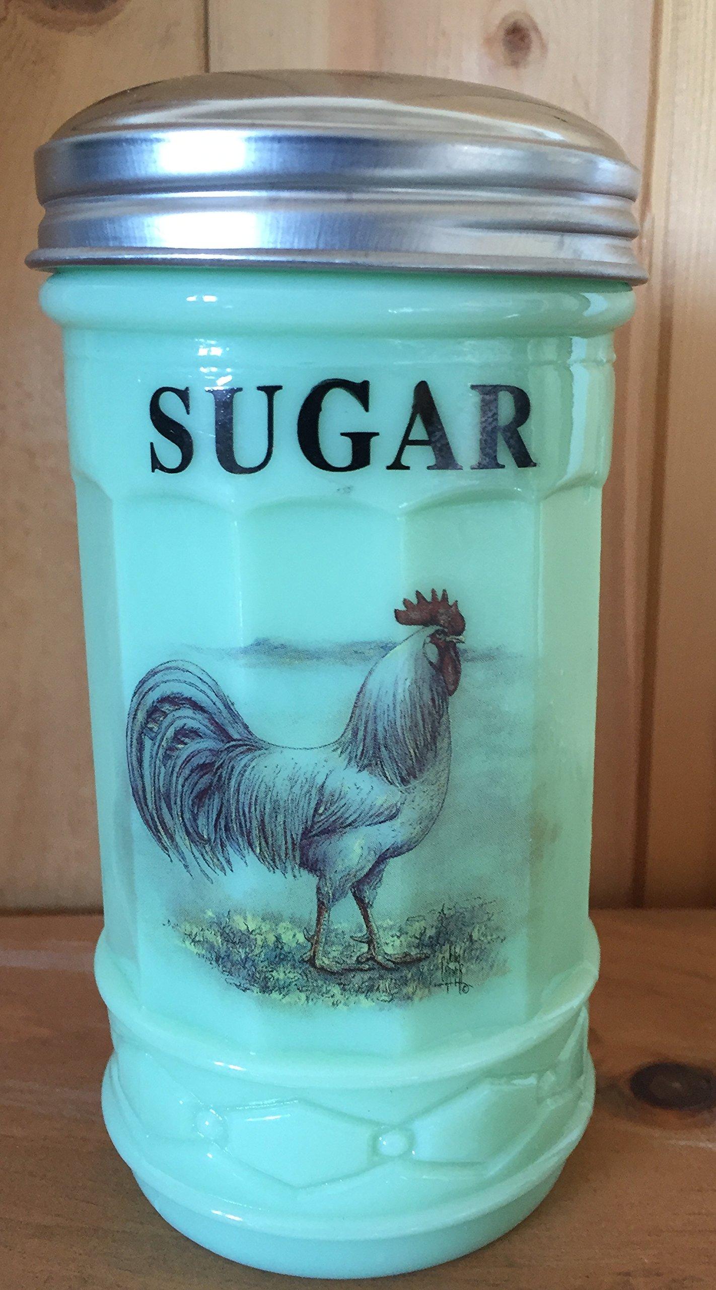 Jade Jadeite Green Glass Restaurant Style Sugar Shaker Dispenser - White Leghorn Chicken Rooster