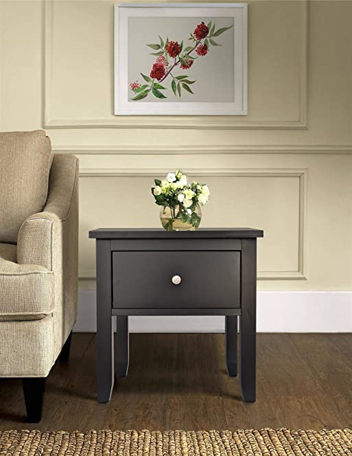 Henley Black Wooden End Side Lamp Table With 1 Drawer Living Room ...