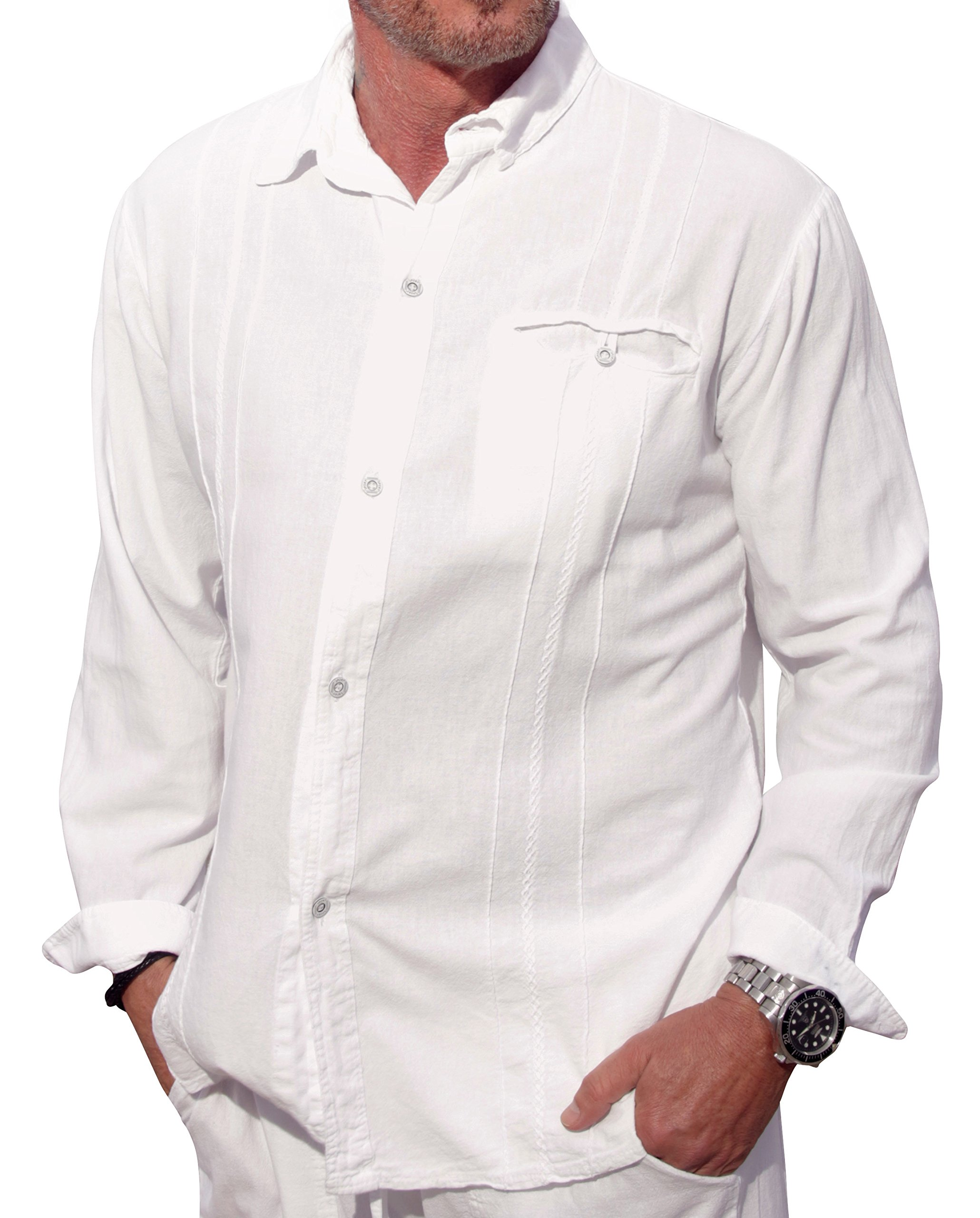 M&B USA Cotton White Long-Sleeve Button Loop Closure Pocket Organic Embroidered Button Down Shirt (X-Large, White) by M&B USA