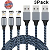 Lightning Cable, iPhone Charger 3Pack 10FT Nylon Braided USB Charging Cable Cord for iPhone X 8 8 Plus 7 7 Plus 6 6s 6 Plus 6s Plus 5 5s SE 5c, iPad, iPod - Blue