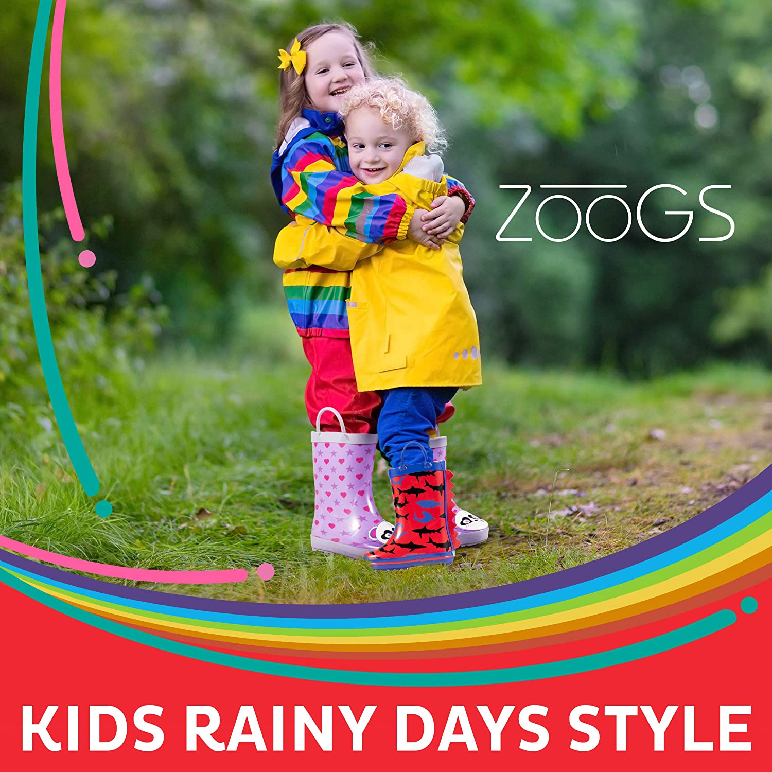 Little Kids /& Toddler Boys /& Girls Patterns ZOOGS Childrens Rubber Rain Boots