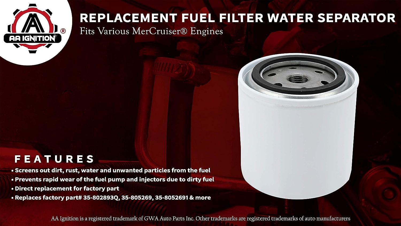 Genuine Mercruiser Water Separating Fuel Filter 35-802893Q01-5.0L MPI Alpha