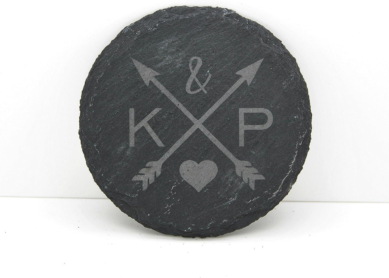 Posavasos de pizarra personalizable, diseño de flechas de amor, ideal para regalo de boda o aniversario, Individual: Amazon.es: Hogar