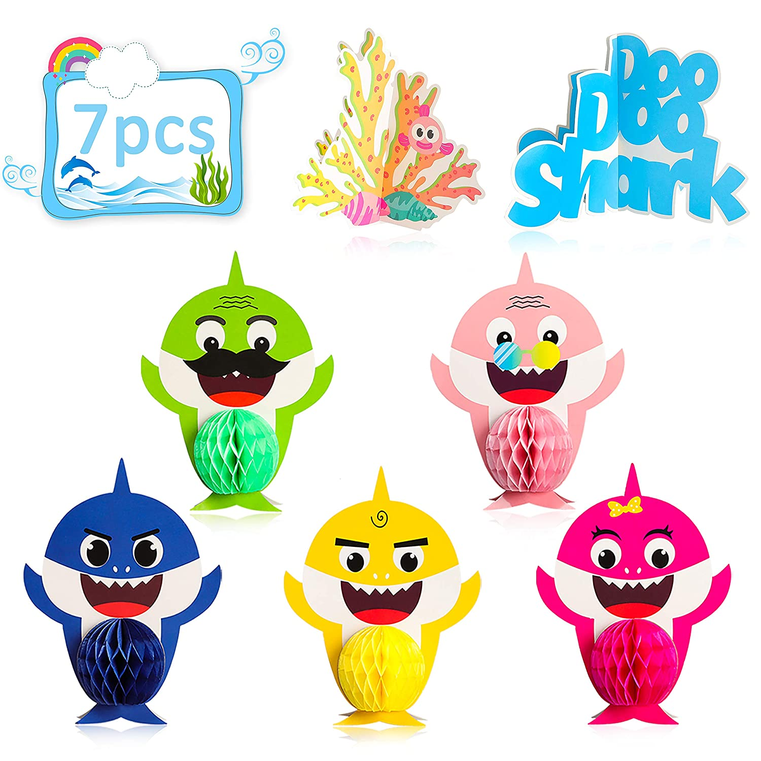 Ticiaga Little Shark Party Favors, 7pcs Doo Doo Shark Honeycomb Centerpieces Table Topper for Birthday Party Decoration, Double Sided Little Shark ...
