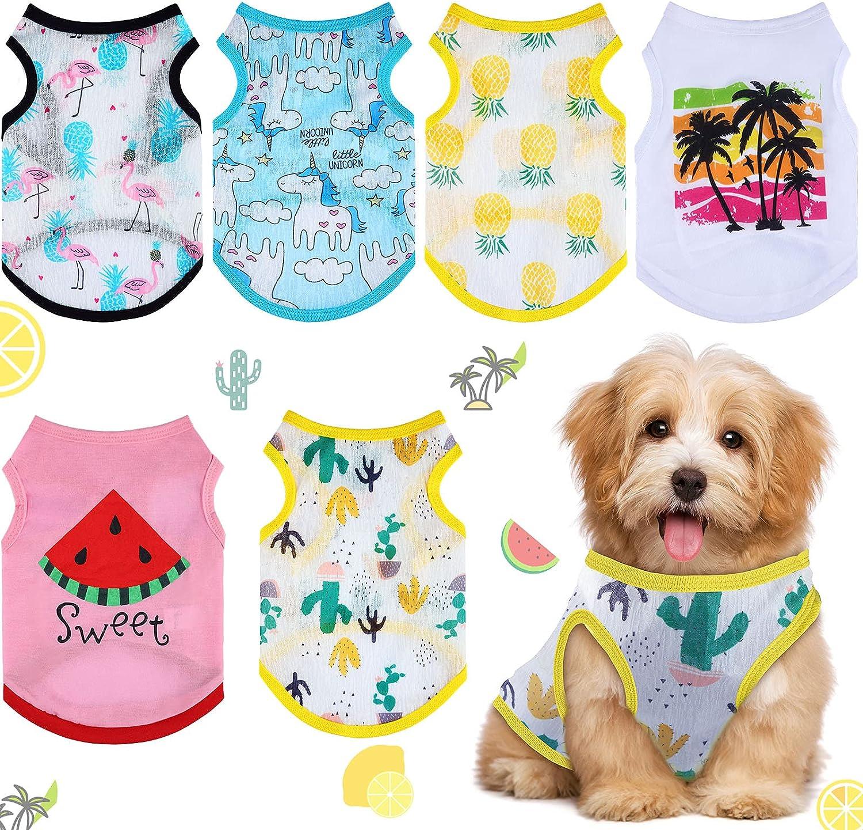 Pack de 6 camisetas de verano para perro pequeño de estampados y colores variados