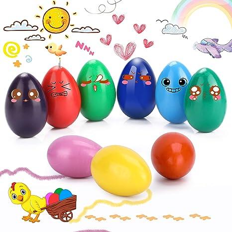 WOSTOO Crayones, 9 Colores Crayones de Huevo para Niños, Agarre de Palma de la Mano, Crayones de Pintura Coloridos Juguetes, Producto Seguro y No ...