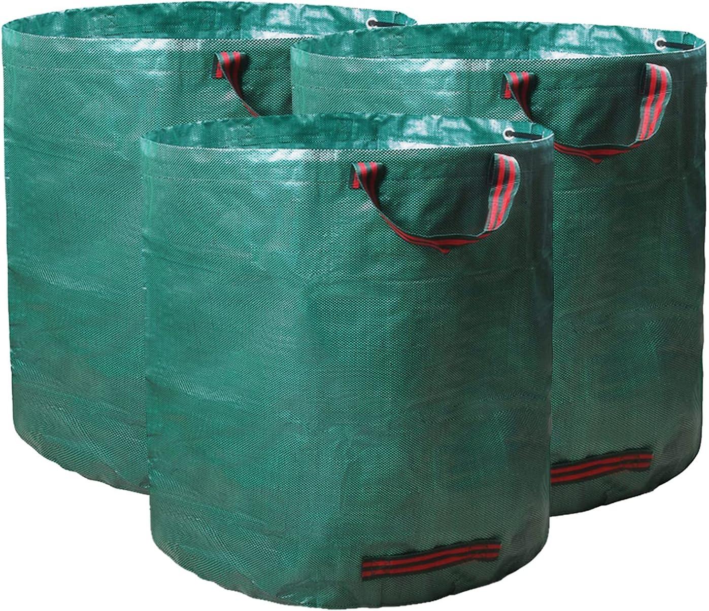 3 Pack Reuseable Garden Waste Bags - 32 Gal Large Leaf Bag Holder/ Heavy Duty Lawn Pool Yard Waste Bags/ Waterproof Debris Bag