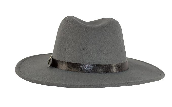 a8dd826f MWS Wide Brimmed Gangster Fedora w/Buckle Hatband, Large Felt Flat Brim  Panama Hat (Grey) at Amazon Men's Clothing store: