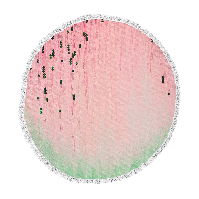 Kess InHouse EBI Emporium Mystic Garden 4 Pink Green Round Beach Towel Blanket