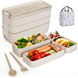 Aitsite Bento Box Japanese Lunch Box with Dividers 900 ml - Leakproof Eco lunchbox for Kids and Adults with Lunch Bag…