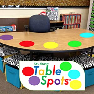 The Original Table Spots for Teachers | Highest Quality! No Staining, No Shadowing, Complete Erase! Dry Erase, 10 Pack Multicolor Circles, Wall Stickers, Decals