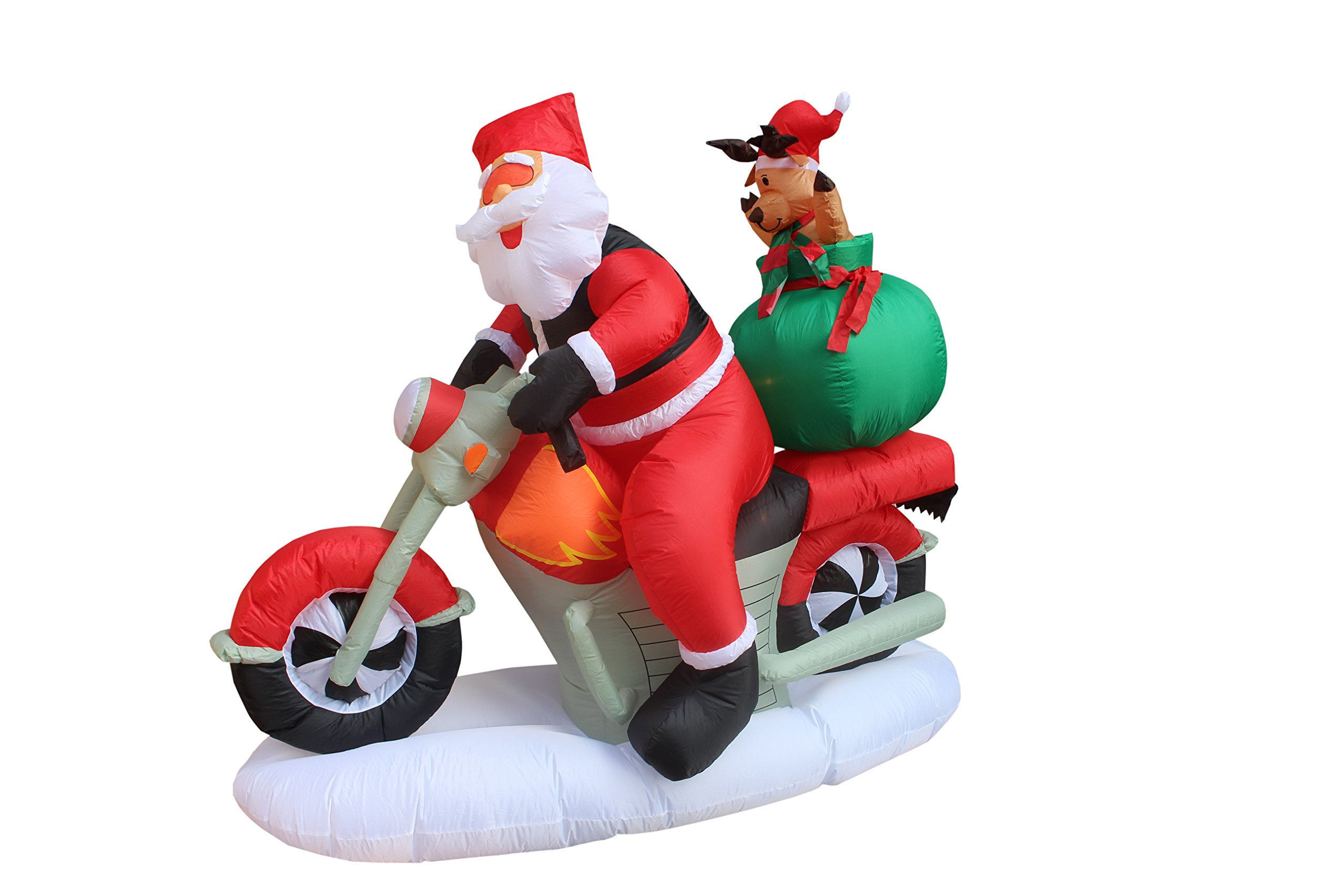 6 Foot Long Christmas Inflatable Santa Claus and Reindeer on Motorcycle Outdoor Indoor Decoration