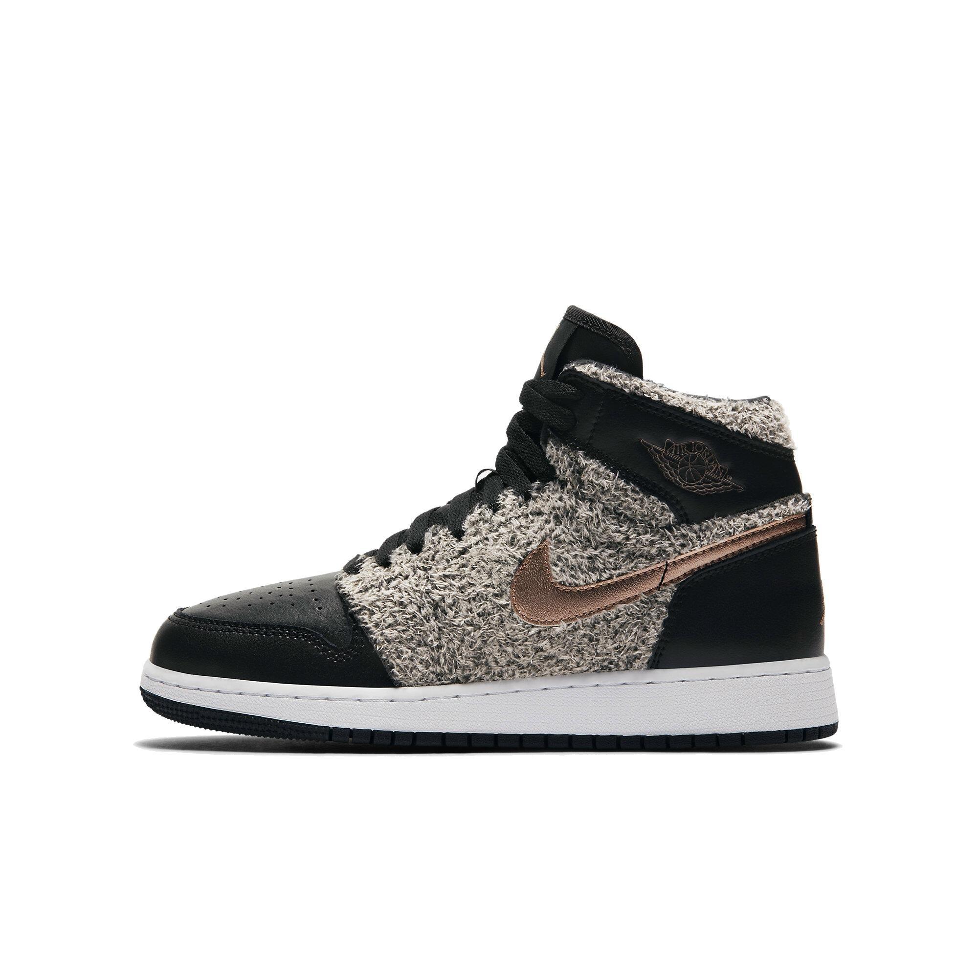 Jordan Air 1 Retro High GG Big kids Shoes Black/Metallic Bronze/White 332148-022 (4 M US)