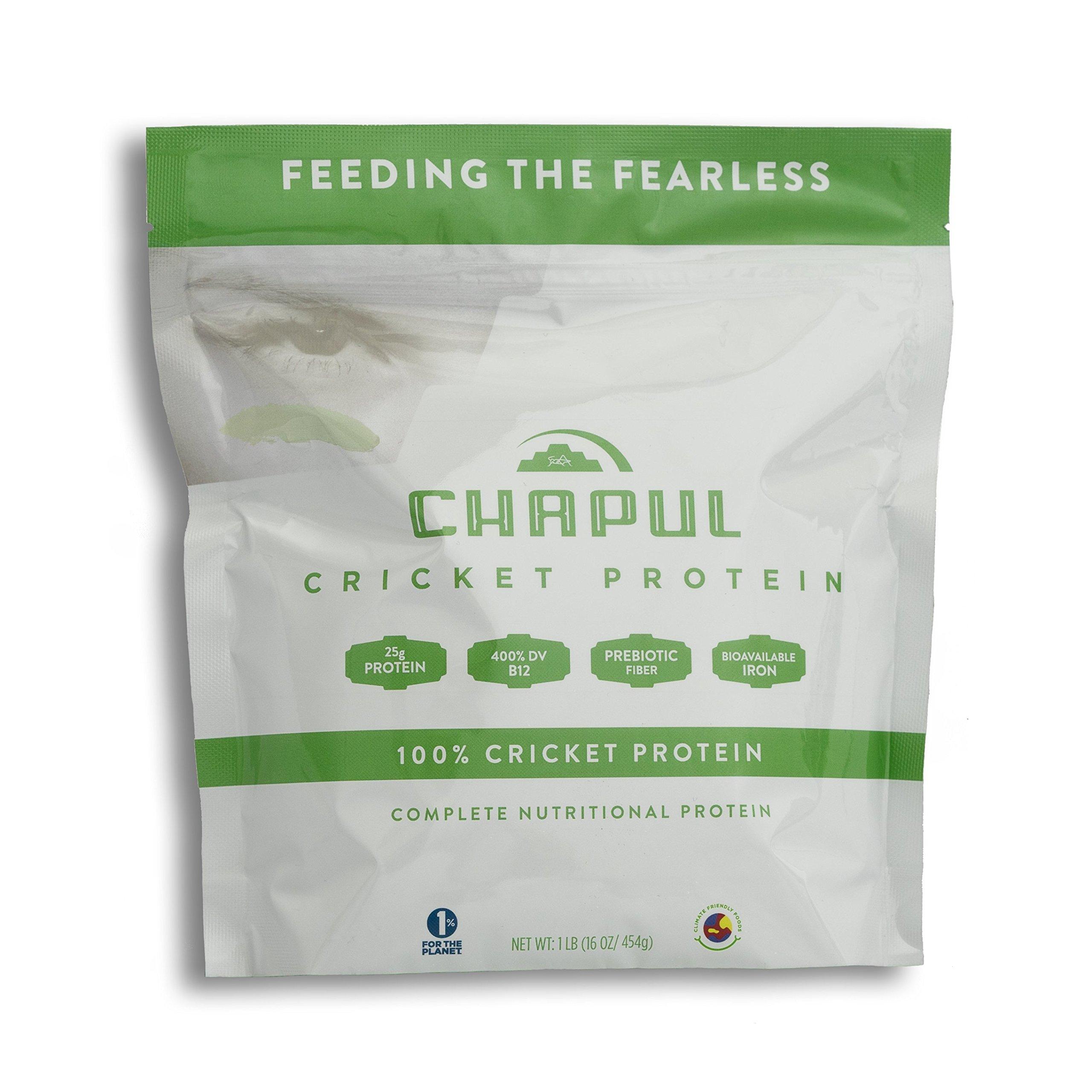 Chapul Cricket Protein Powder (Pure, 1 Pound) - 100% Cricket Flour, 25g Protein per Serving, High in Prebiotic Fiber, Sugar Free, 0 Net Carbs, Keto-Friendly by Chapul