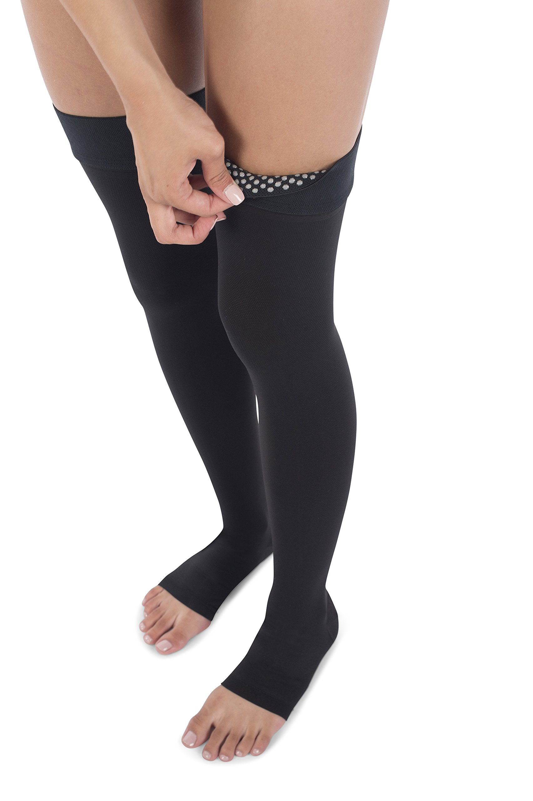 Jomi Compression Thigh High Collection, 20-30mmHg Surgical Weight Open Toe 241 (XX-Large, Black) by JOMI COMPRESSION (Image #7)
